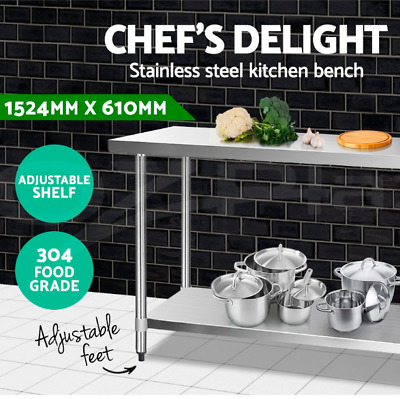 1524x610mm 304 Quality Stainless Steel Bench Commercial Food Table Castor Wheels