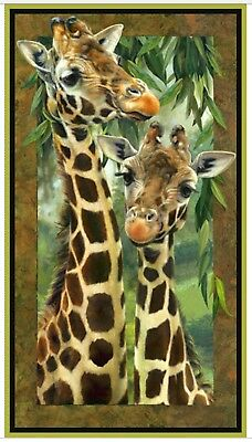 Giraffe Pair Digital Quilt Panel *  Artworks * Free Post *