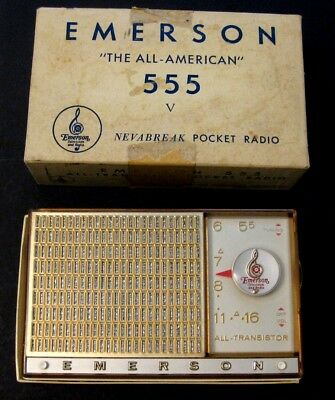 "1950s Emerson ""All-American"" Transistor Radio Model 555 Nevabreak NIB w/instruct"