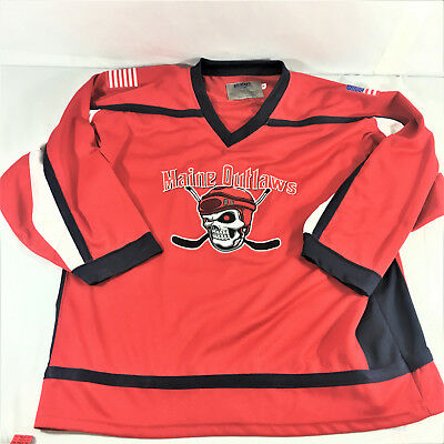 Maine Outlaws  Menace Sports Hockey Jersey Adult M Sewn Skull Logo