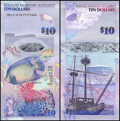 Bermuda 10 Dollars Banknotes, 2009, P-59a, UNC, Replacement Low Serial # 0000335