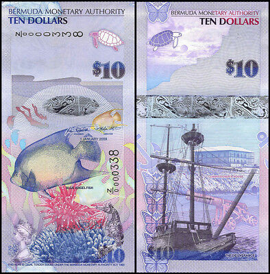 Bermuda 10 Dollars Banknotes, 2009, P-59a, UNC, Replacement Low Serial # 0000338