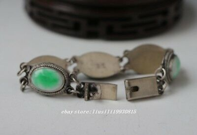 Chinese natural green jade bracelet with beautiful jade beads bangle NR