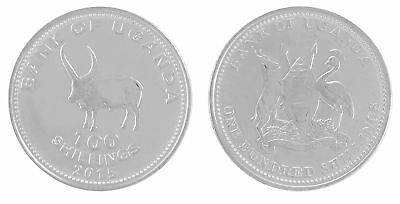 Uganda 100 Shillings 6 g Nickel Plated Coin, 2015, KM # 67a, Mint, Animals,Bulls