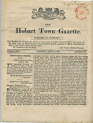 HOBART TOWN GAZETTE Entire SATURDAY APRIL 25 1829 Issue TWO PENCE tax stamp h/s