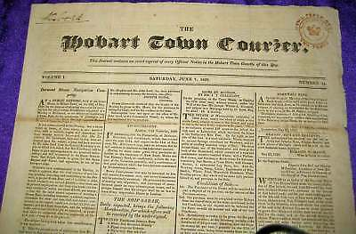 HOBART TOWN COURIER Entire SATURDAY JUNE 7 1828 Issue TWO PENCE tax stamp h/s