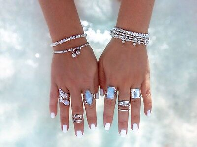 Embella  Sterling Silver Moonstone Rectangle Ring RRP $149 Size 7 EC