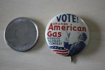 Amoco Orange American Gas Slogan Contest Vintage Pin Pinback Button #26230