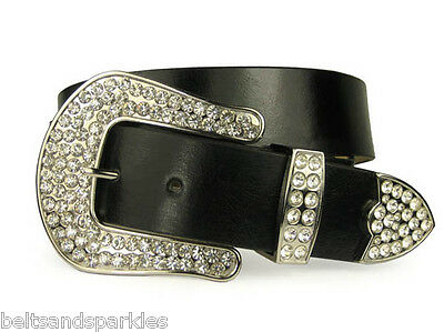 New Leather Black Belt with Bling Rhinestone Buckle M/L