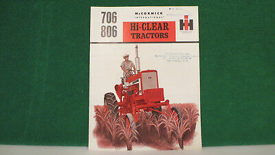 IH Tractor brochure on Models 706 & 806 Hi Clear Tractors from 1964, very rare.