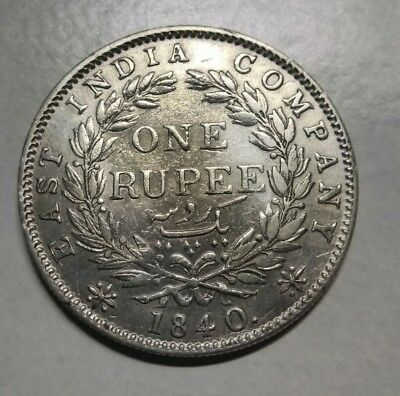 1840 (B) East India Company Queen 1 Rupee Silver British Silver Coin #3405