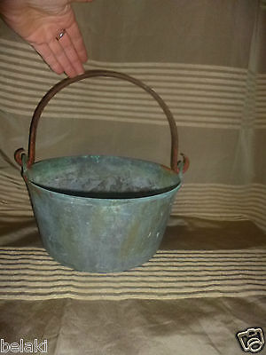 Vintage French Brass Forged Iron Handle Cauldron Pot Pail  Antique Rustic