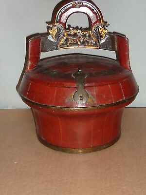 Vintage Chinese Wedding Basket Box Lidded Round Wooden Caddy Timber Lacquer