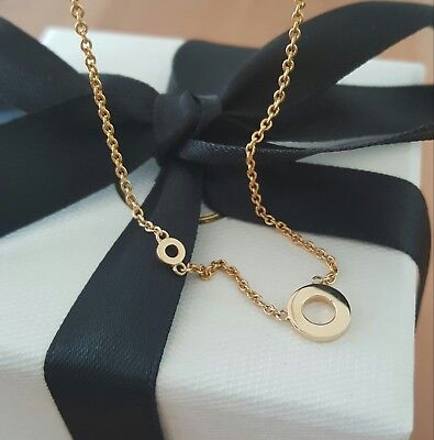 """18ct 18k Solid Yellow Gold Double Circle Pendant Necklace by CTJ on 18"""" Chain"""