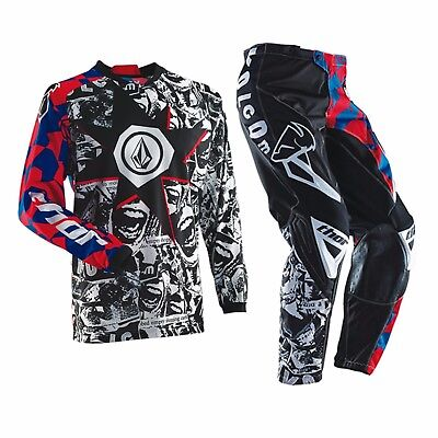 Thor volcom motorbike MX offroad pants jersey combo mens blue red 28-44 S-3XL
