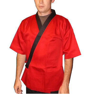 Size L, Red and black sushi chef coat, sushi server happi coat, sushi chef coat
