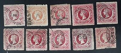 Rare 1860- NSW Australia lot of 10 X 1/- Red Large Diadem Stamps Used Unchecked