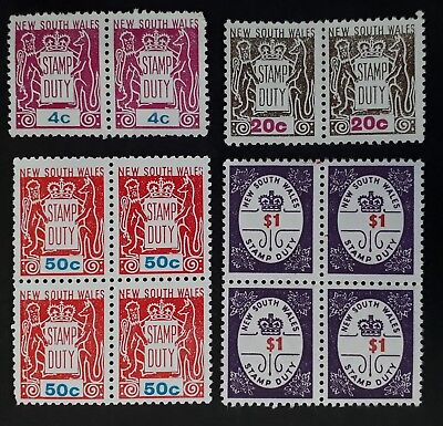 1966- NSW Australia lot of 12x Stamp Duty stamps in Blocks & pairs 4 values Mint