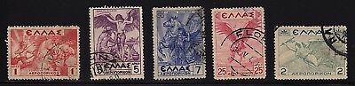 GREECE 1935 air mail stamps (5 values) Used