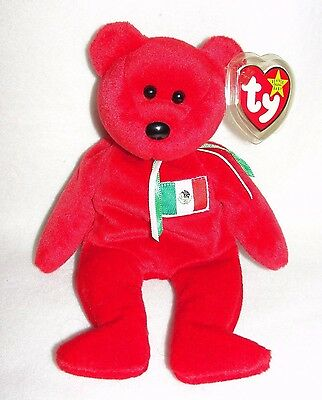 TY Beanie Baby 'OSITO' the Red Mexican Flag Bear - EUC