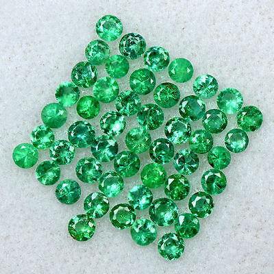 2.38 Cts Natural 2.5 mm Amazing Emerald Gemstone Round Diamond Cut Lot Zambia $