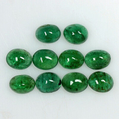 3.75 Cts Natural Top Green Emerald Oval Cabochon Lot Zambia Calibrated 5 x 4 mm