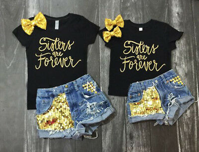 2PCS Baby Girl Kid Bowknot T-shirt Tops+Sequin Denim Shorts Pants Clothes Set US