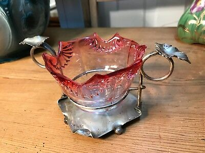 Antique English Cranberry Glass Sugar Bowl in Silver Plate Holder