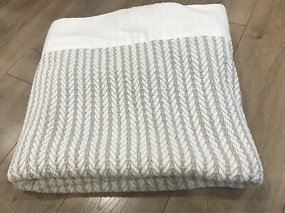Country Road Grey White Cable Knit Throw Bed Sofa Couch Rug Blanket 130 X 190cm