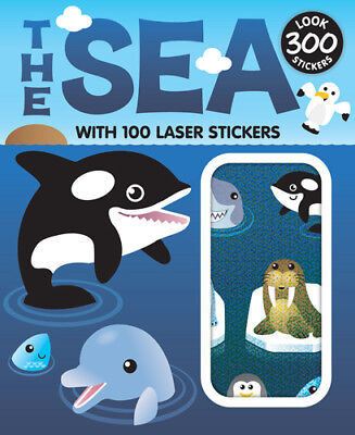 Sticker Books 15 Sheets 300pcs (100 Laser Stickers) Design The Sea F02D23