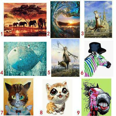 AU DIY Animals Paint By Number Kit Acrylic Oil Painting On Canvas Art Home Decor