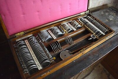 Antique optician set oak box Optometrist lenses scientific medical