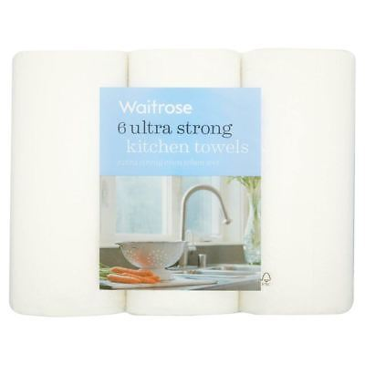Ultra Strong Kitchen Towel White Waitrose 6 per pack (Pack of 2)