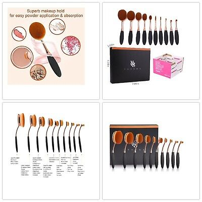 10pcs Makeup Oval Set Professional Brushes Foundation Toothbrush Brush Soft new