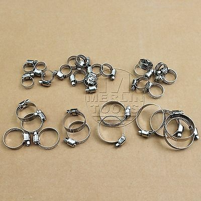 30 Pcs Stainless Steel Drive Hose Clamps Worm Clips (8-38mm)