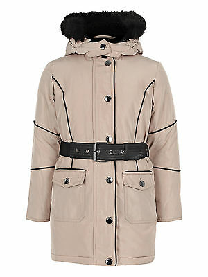 River Island Girls Belted Padded Parka - Beige - UK 4yrs