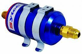 Sytec Bullet Blue Anodised Billet Fuel Filter With 8mm In-12mm Push On Fitting