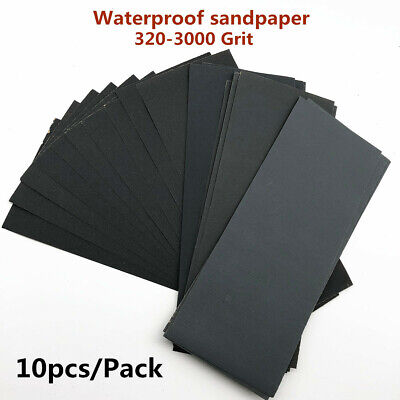 10pcs Wet And Dry Sandpaper Abrasive Sanding Paper 320 400- 800- 2000 3000 Grit