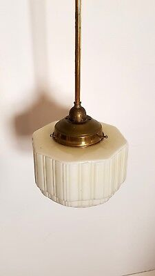 Art Deco Pendant Light-brass rod with Ribbed White light fitting. 1940s Can Post