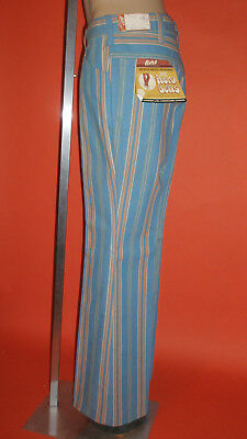 Vintage 1960's 1970's Striped Bell Bottom Jeans Size 34 Areo Bells