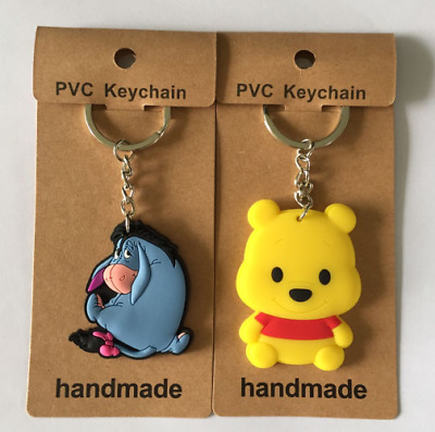 2 Styles New Disney Winnie the Pooh Eeyore Cartoon Gift PVC Keyrings Keychains
