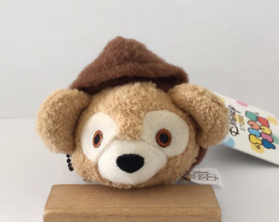 "New Disney TSUM TSUM Duffy Bear With Hat Plush Toys Dolls With Chain 3.5""/9cm"