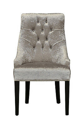 Louis XV Venezia Chair  - Crushed Silver Velvet and  French  black colour