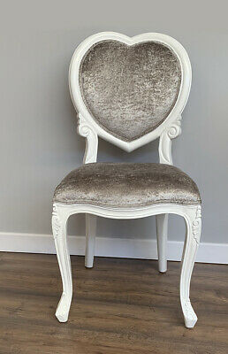 French Louis MEDEE Chair ,white , bedroom  dressing table crushed silver velvet