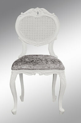 French Louis XV Renee Bedroom Chair  -  White colour  with Crushed Silver Velvet