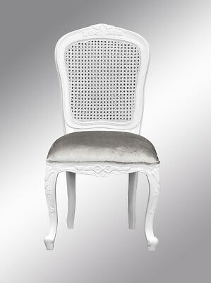 French Chantilly Bedroom Chair  - French White Rattan Brushed Silver Velvet