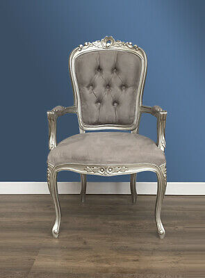 French Louis XV Elise Armchair  - Silver with Brushed Grey Satin