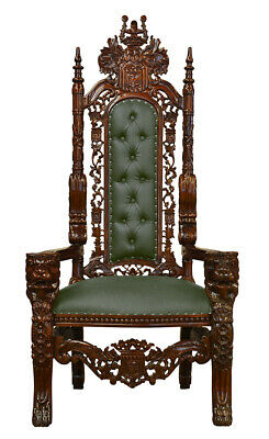 Throne Chair    - Carved Mahogany - Lion King Throne Chair