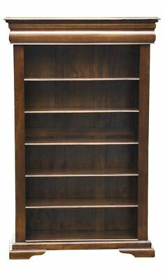 Solid Mahogany  Elise Bookcase 5 Shelf and Recessed Drawer - Chestnut