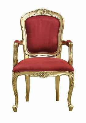French Louis Gold Armchair    Wine Velvet upholstery - Elise - French Furniture